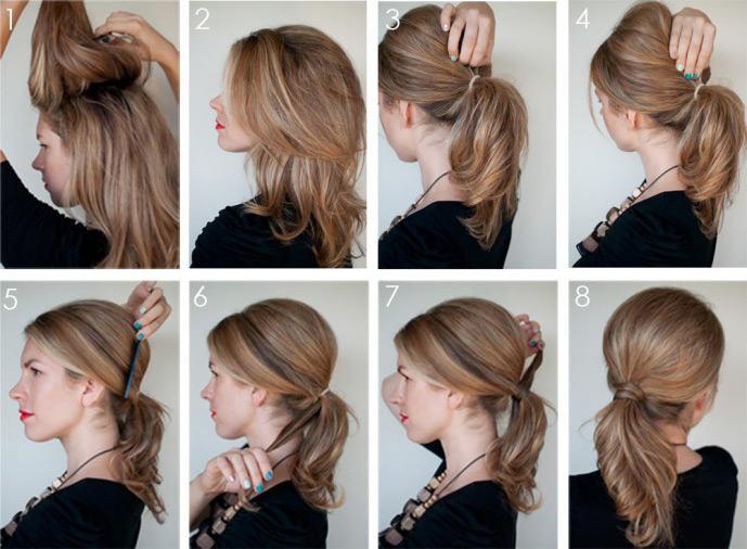 Как быстро сделать красивый хвост из средних волос