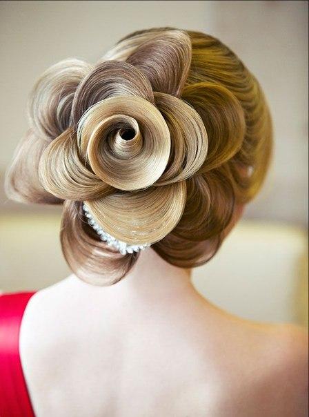 1176 Как сделать шикарный цветок из прядей волос