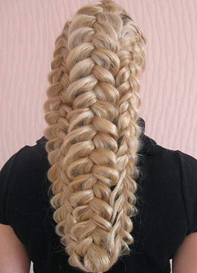Ажурные косы из волос