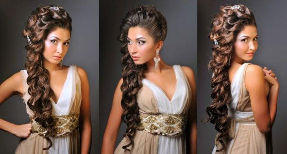 Греческие косы на длинные волосы