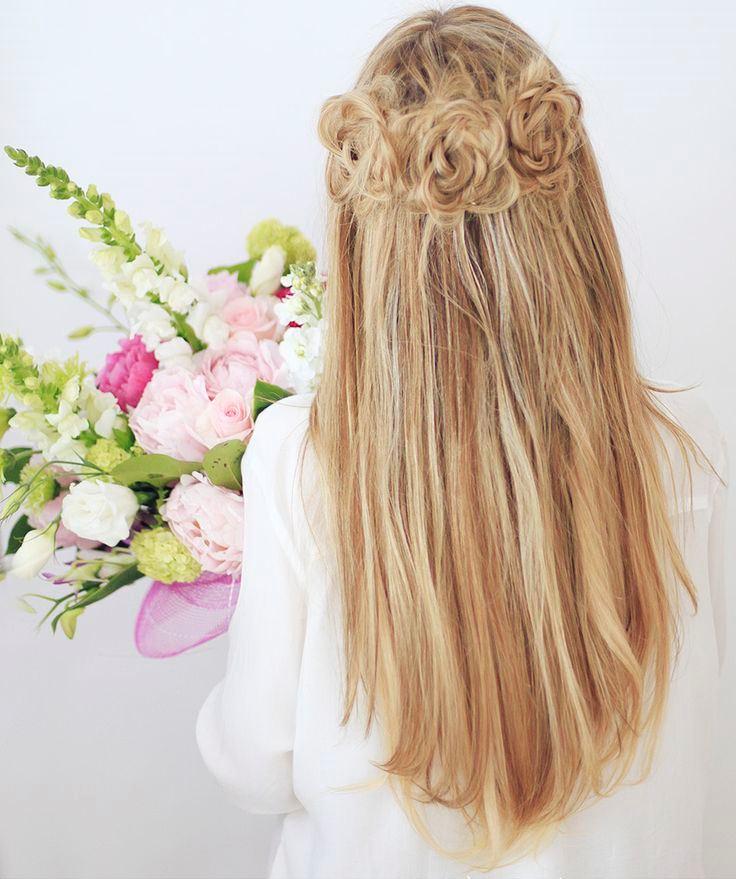 Фото схемы создания цветка из волос