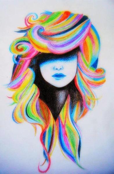 Радужные рисунки девушек