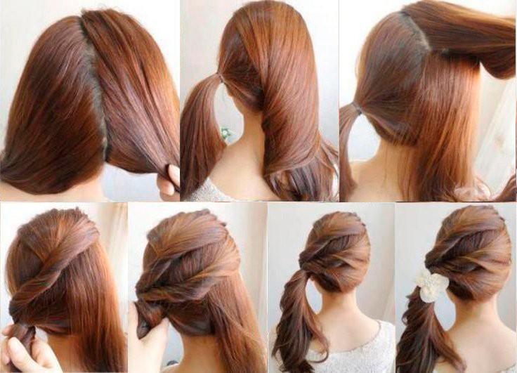 3283 Простая прическа на выход для средних волос