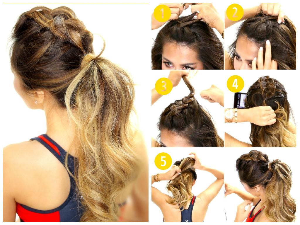 Красивые прически легкие на средние волосы хвосты