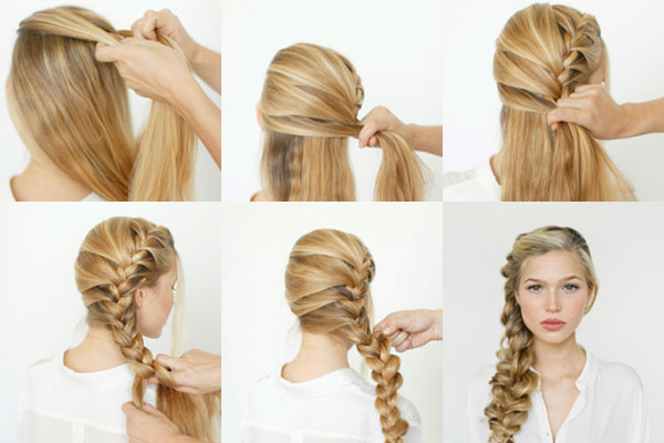 Скрученная коса на бок