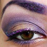 6174 Экзотичный макияж с фиолетовым глиттером и кристаллами Сваровски