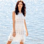 9948 Белое ажурное платье с бахромой