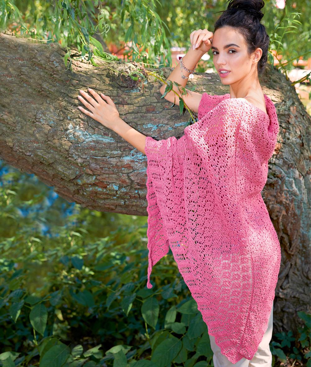9967 Розовая ажурная шаль