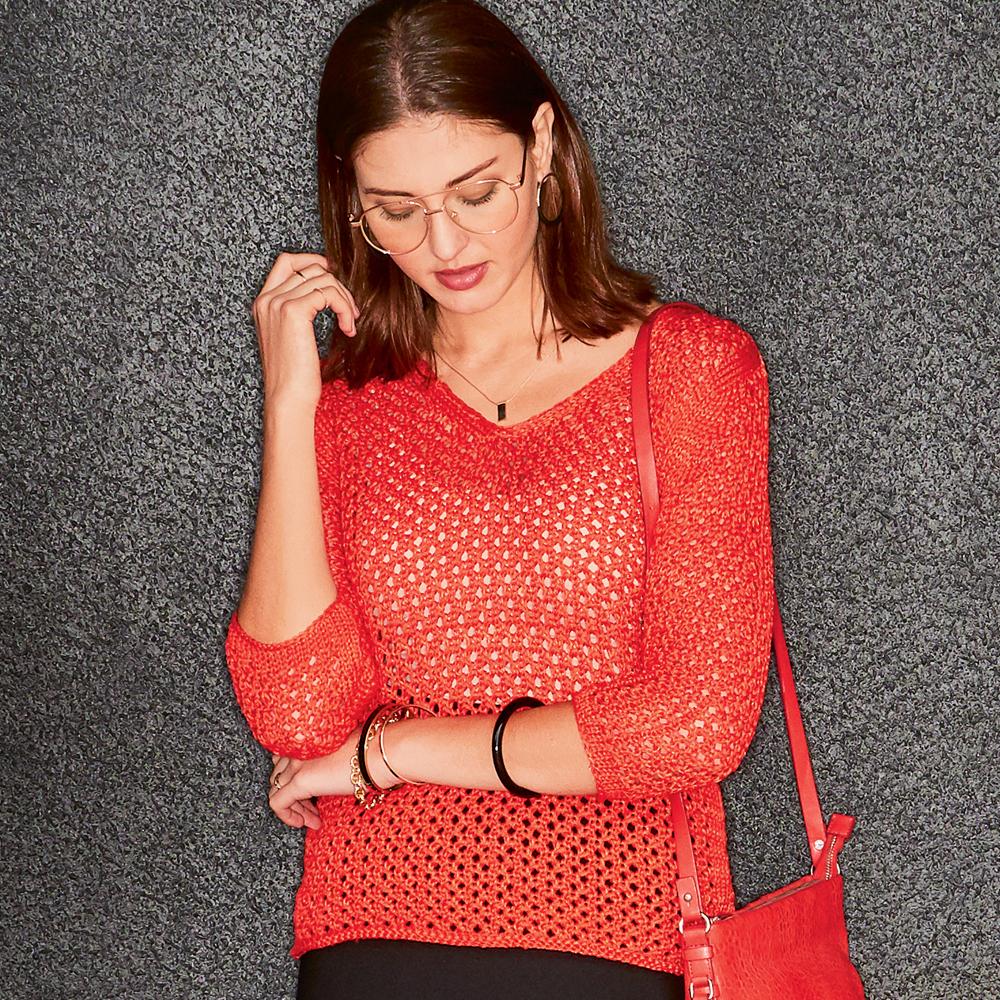 10044 Красный пуловер с сетчатым узором