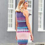 10104 Летнее платье с жаккардовыми узорами