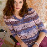 10566 Ажурный пуловер в полоску