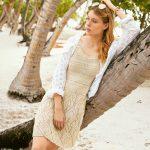 10582 Платье на бретелях с узором из «листьев»