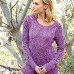 10694 Фиолетовый джемпер с ажурными «косами»