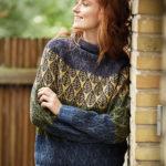10804 Удлиненный свитер с узором «Листья»