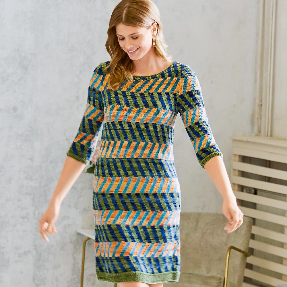 11024 Платье-миди с жаккардовым узором