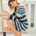 11028 Платье с ажурным узором и рукавами-реглан