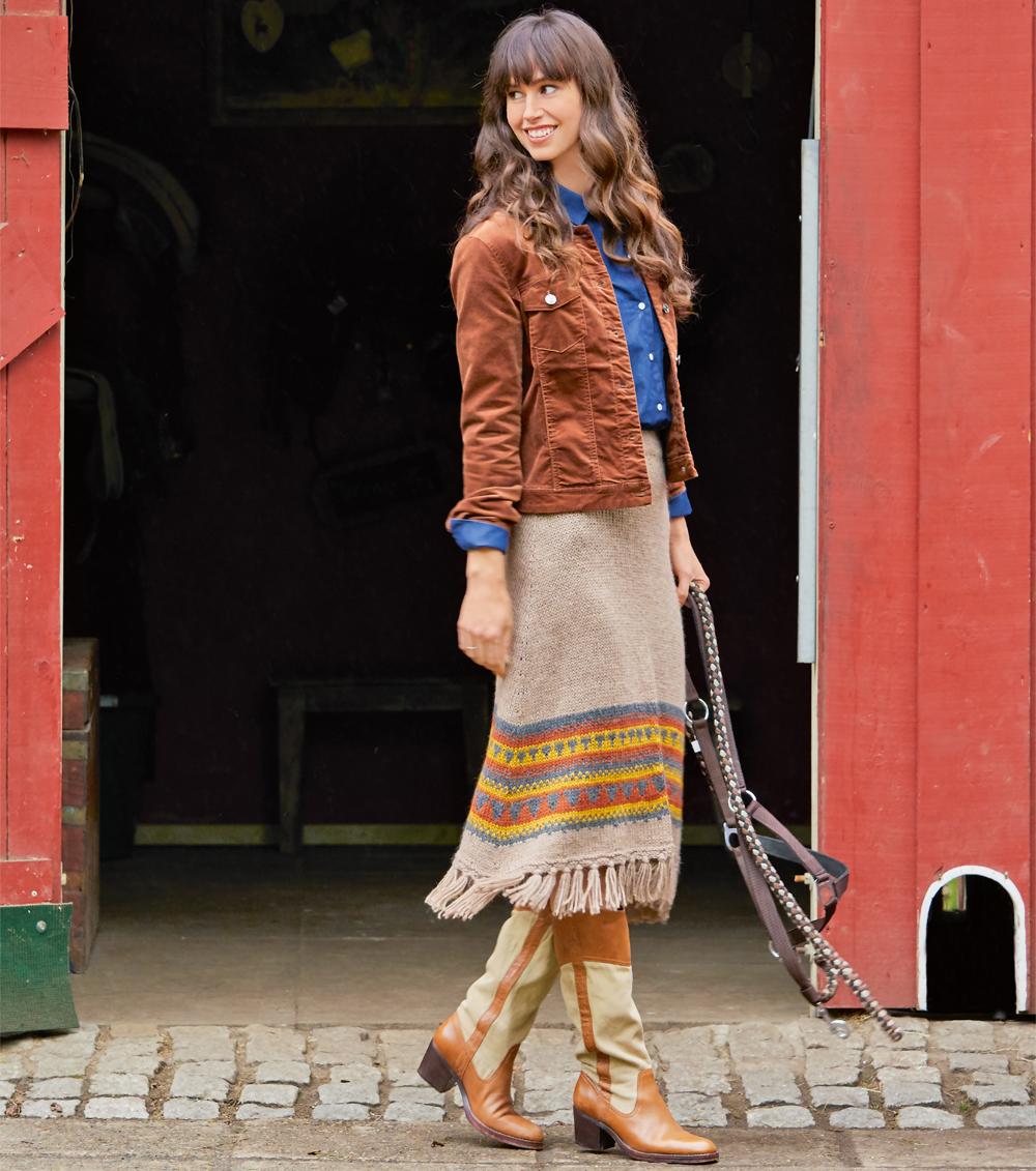 11174 Длинная юбка с бахромой