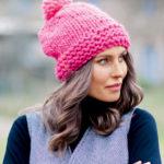11310 Розовая шапка с помпоном