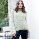 11335 Объемный свитер с воротником гольф