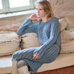 11480 Серо-голубое платье с миксом узоров
