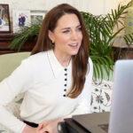 """16924 Кашемировый свитер и серьги-кольца: Кейт Миддлтон пообщалась по видеосвязи с """"маленькой принцессой"""""""
